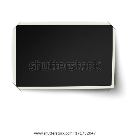 Retro straight edge photo frame with one not fixed corner in photo album isolated on white background. Raster version illustration. - stock photo
