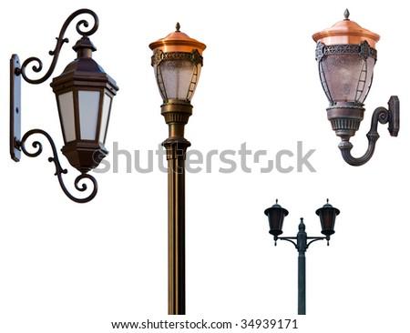 Retro street lamps isolated on white - stock photo