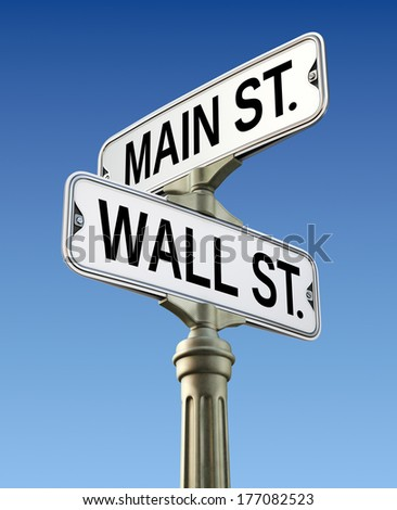 Retro street sign with Wall street and Main street  - stock photo