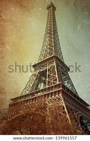 retro style Eiffel Tower (nickname La dame de fer, the iron lady),The tower has become the most prominent symbol of both Paris and France - stock photo