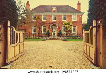 retro style english house  - stock photo