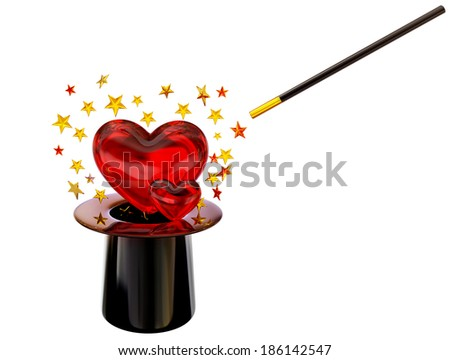 Retro style hat with magic wand and stars for love spell on white background - stock photo