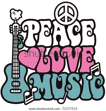 Retro -style illustration of a guitar, peace symbol and dove with the words Peace, Love and Music. Type style is my own design. - stock photo