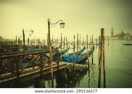 Retro style image of Gondolas at Grand Canal, Venice, Italy - stock photo