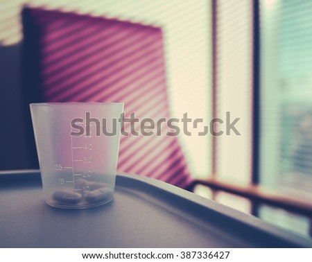 Retro Style Image Of Medication In A Hospital Room - stock photo