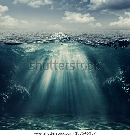 Retro style marine landscape with underwater view - stock photo