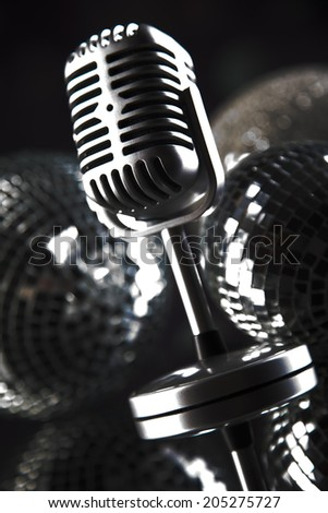 Retro style microphone, Music background - stock photo