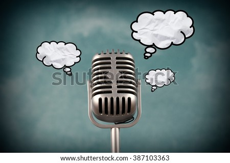 Retro style microphone with bubble text - stock photo