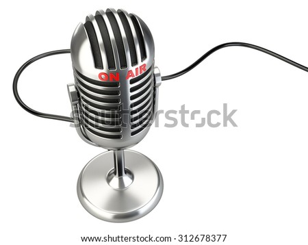 "Retro style microphone with ""on air"" sign isolated on a white background - stock photo"