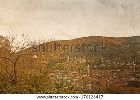retro style old town of Heidelberg, Germany  - stock photo