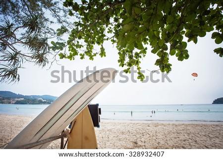 Retro Style Photo Of Vintage phuket thailand Surf Boards - stock photo