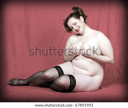 Retro style picture of a overweight woman on a pink background. - stock photo