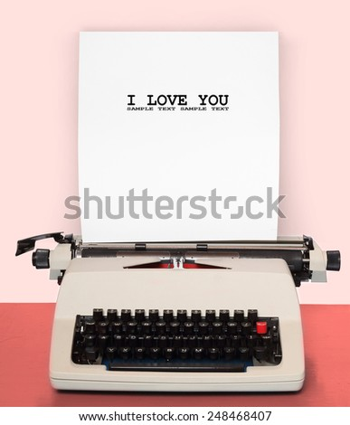 Retro style picture of old typewriter with paper. - stock photo