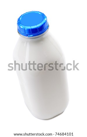 Retro Style Square Glass Milk Bottle Isolated On A White Background - stock photo