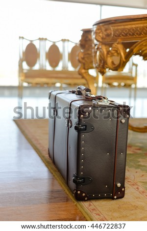 Retro style suitcase trunk ready for travel - stock photo