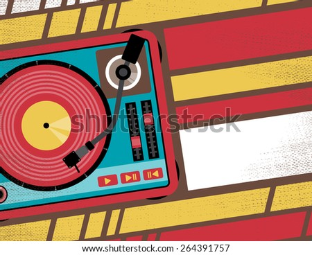 Retro Styled Club Flyer featuring Old School Turntable in Funky Bright Colours - stock photo