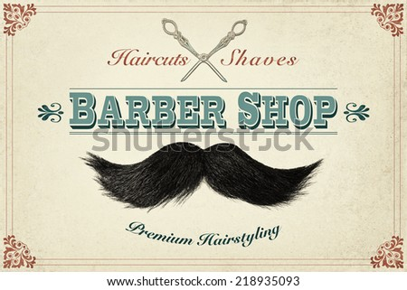 Retro styled design concept for a barber shop with photos of a mustache and silver scissors - stock photo