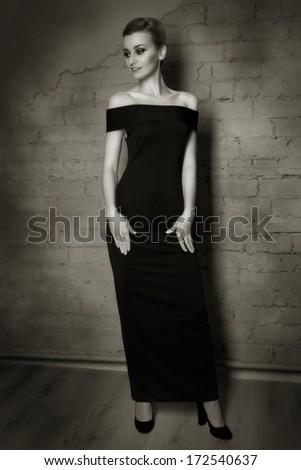 Retro styled fashion portrait of a woman.   - stock photo
