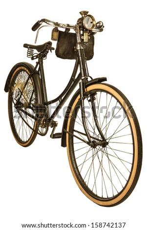 Retro styled image of a nineteenth century bike with lantern isolated on a white background - stock photo