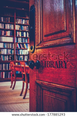Retro Styled Image Of The Door To An Ancient Library - stock photo