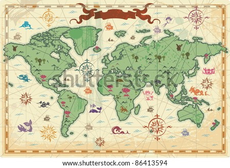Retro-styled map of the World with trees, volcano, mountains and fantasy monsters. Raster version. Vector version is also available. - stock photo