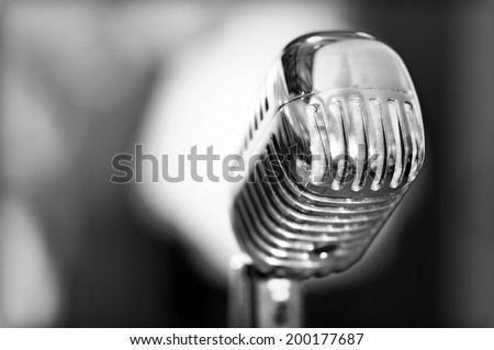 Retro styled microphone b&w - stock photo