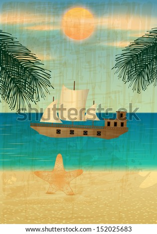 Retro summer background illustration with ocean, palm leaves, starfish, beach and ship - stock photo