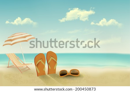 Retro summer vacation background. Raster version - stock photo