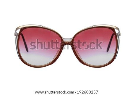 Retro Sunglasses isolated on white background, Classic sunglasses, Vintage sunglasses, Pink, Red. - stock photo