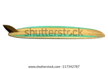 Retro Surfboard isolated on white - stock photo
