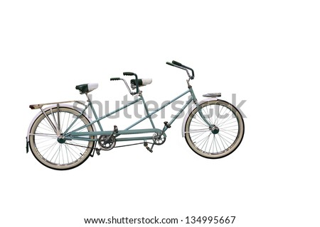 Retro Tandem Bicycle isolated on white background - stock photo