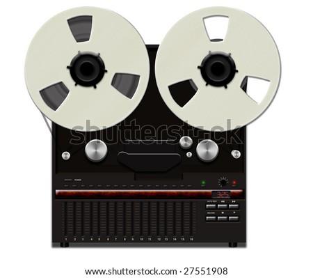 Retro tape recorder - stock photo
