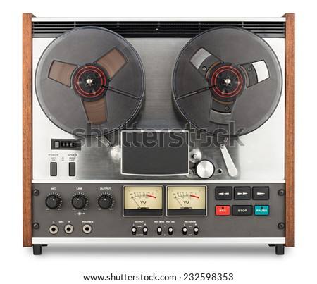 retro tape recorder in front of white background - stock photo