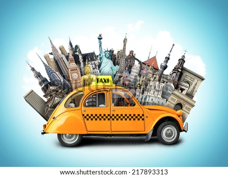 Retro taxi on the background of landmarks, travel - stock photo