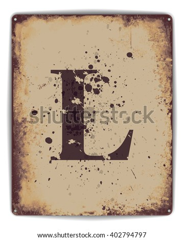 Retro tin plate style poster with capital letter L monogram. - stock photo