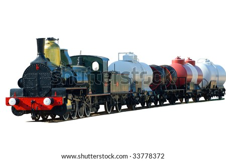 Retro train isolated on the white background - stock photo