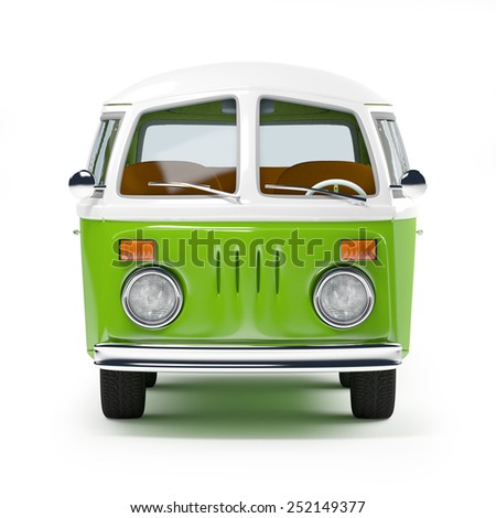 retro travel van in cartoon style, front view, isolated on white - stock photo