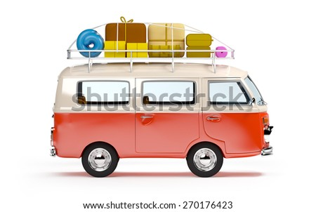 retro travel van in cartoon style with luggage isolated on white - stock photo