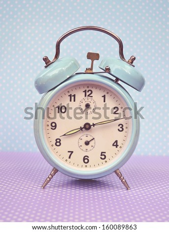 Retro turquoise clock - stock photo