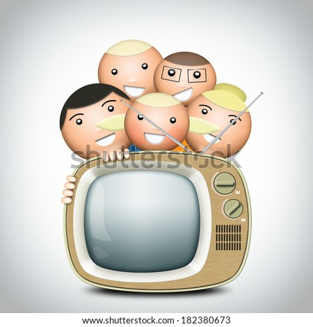 Retro TV and funny family with an antenna - stock photo