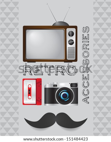 Retro tv, cassette, camera and mustache icon on hipster background. VECTOR illustration. - stock photo