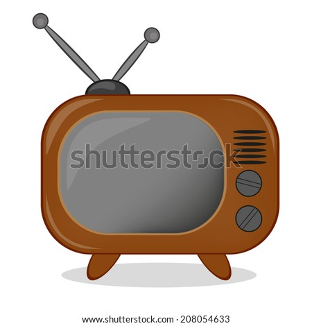 Retro TV icon. Raster version  - stock photo