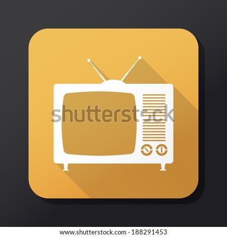 Retro TV icon with long shadow - Illustration - stock photo