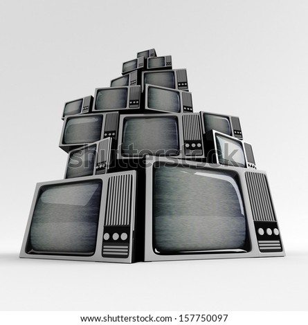 Retro TV in front with static on white background. - stock photo