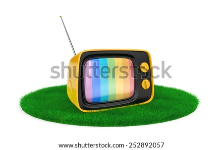 Retro TV on the grass - stock photo