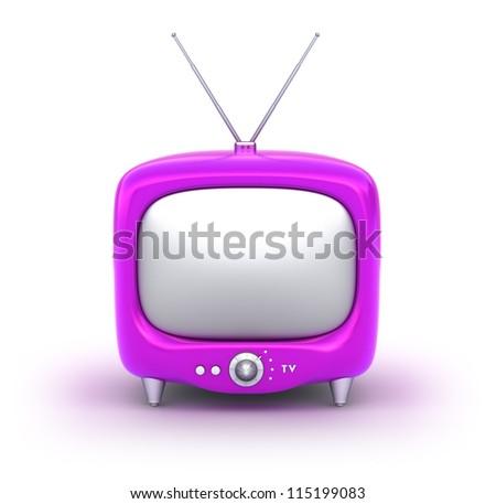 Retro TV Set. Isolated on white background. My own design. - stock photo