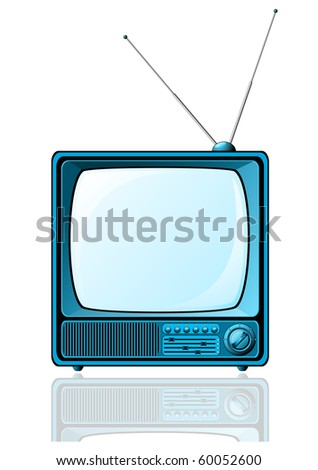 Retro TV with blue screen isolated on white - raster version. - stock photo