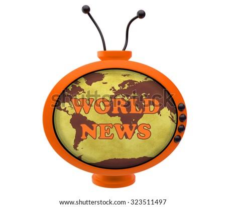 Retro TV with inscription world news - stock photo