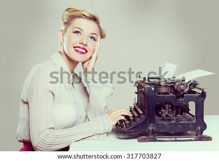Retro typewriter. - stock photo