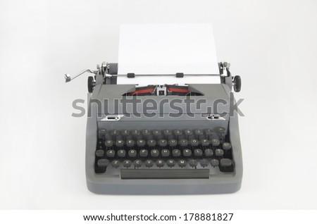 Retro Typewriter Front View - stock photo